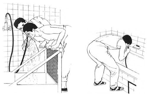 Kneipp: Gesichtsguß durch Bademeister (links) - Gesichsguß, Selbstausführung (rechts)