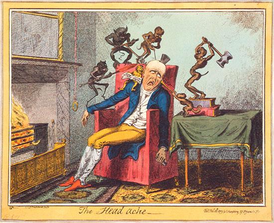 Zeichnung von George Cruikshanks : Der Kopfschmerz