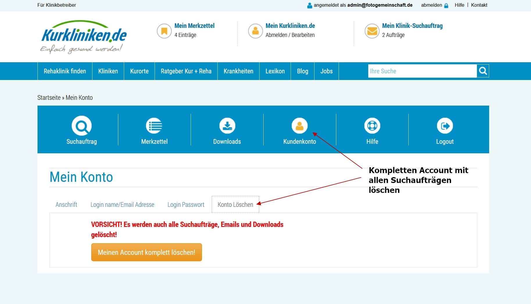 Kurkliniken.de: Account löschen