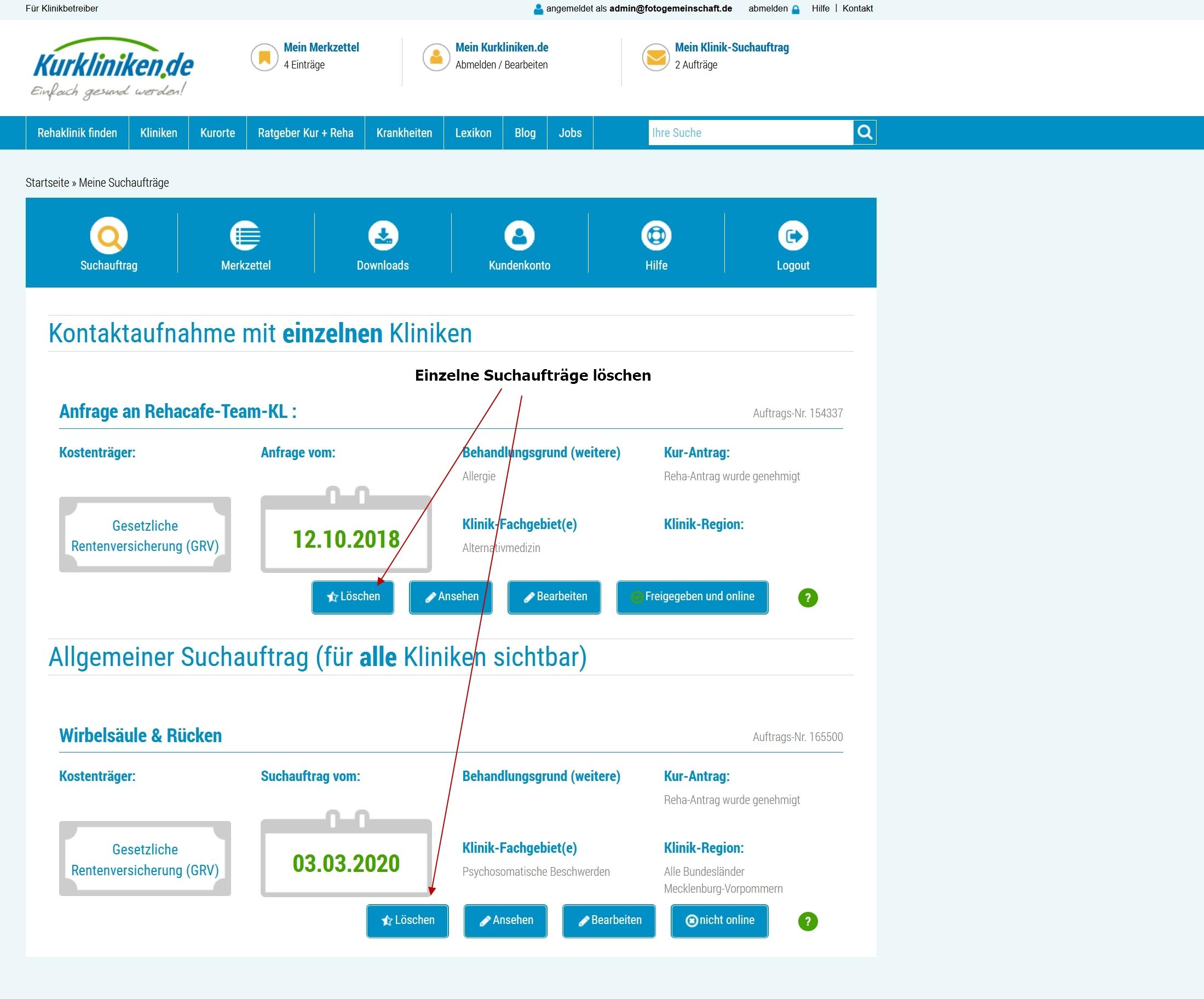 Kurkliniken.de: Suchauftrag löschen